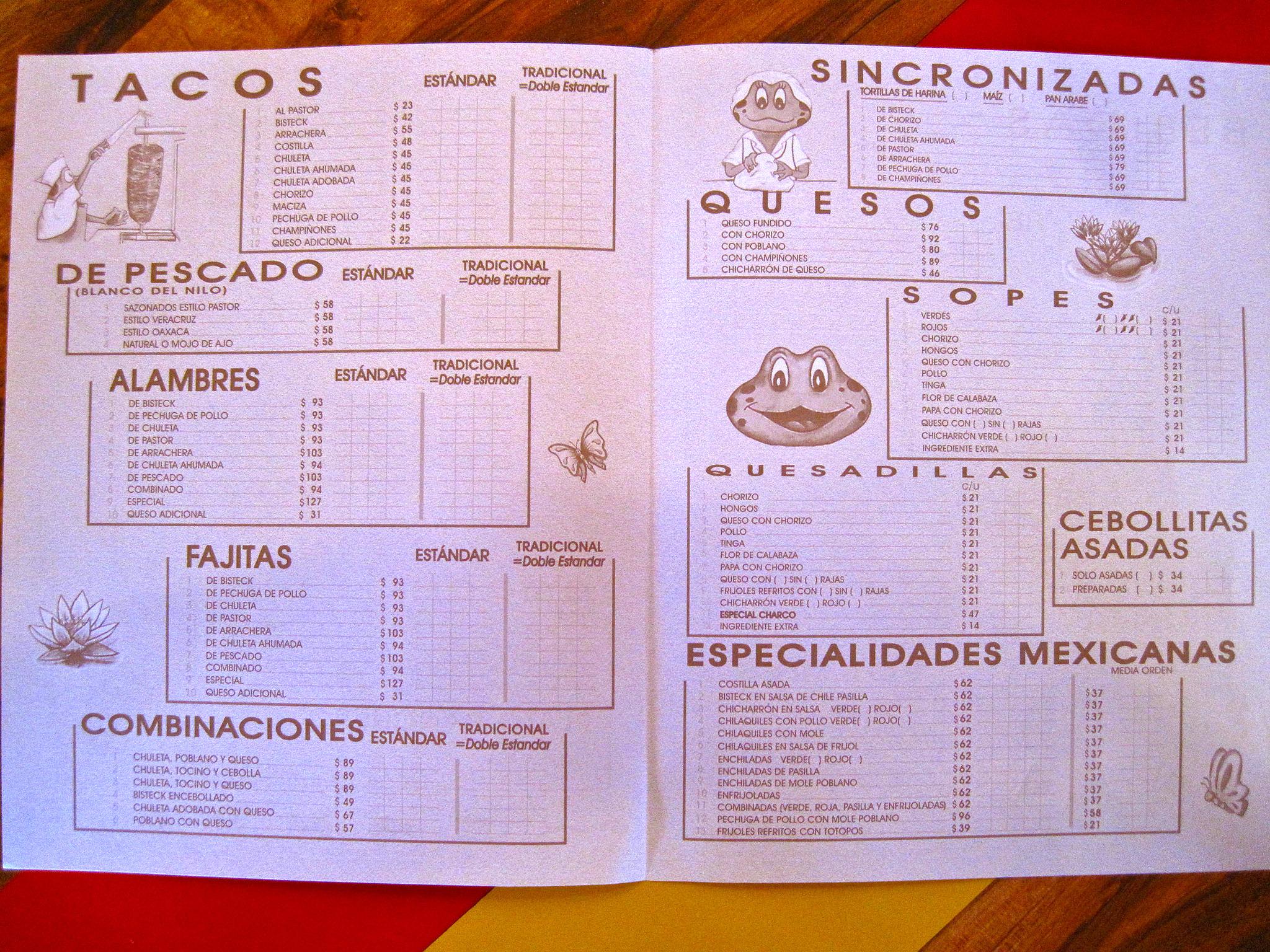 El Charo de las Ranas, Mexico City - Menu