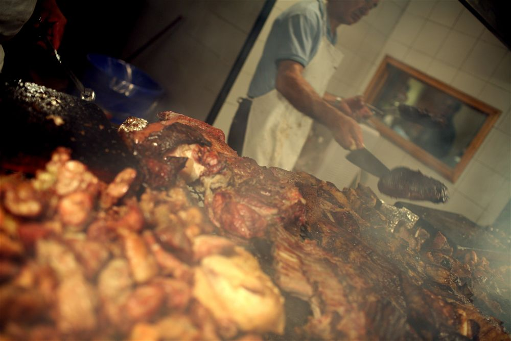 Selection of meats at the parilla