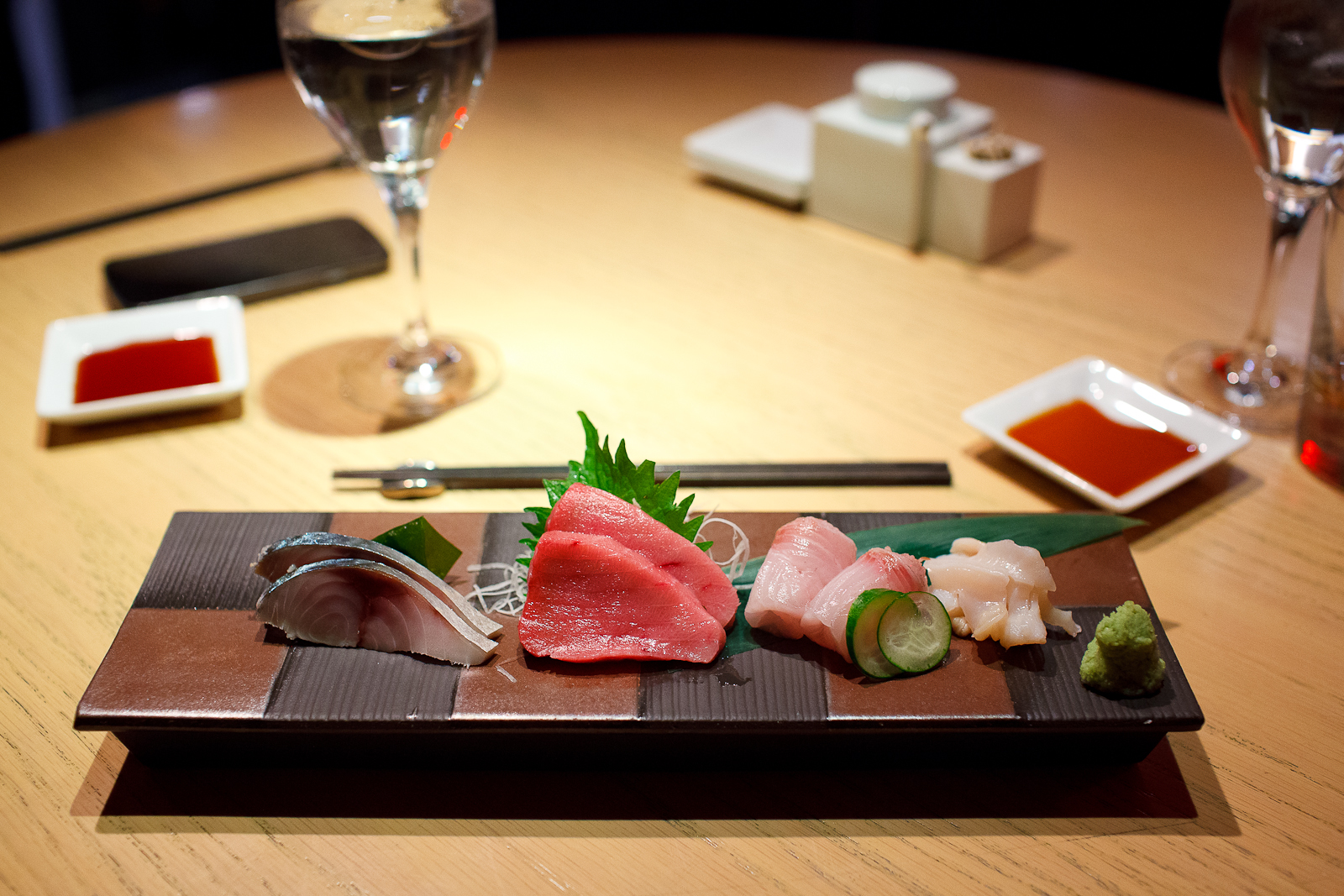 3rd Course: Marinated mackerel, medium fatty tuna, white jack, and giant clams