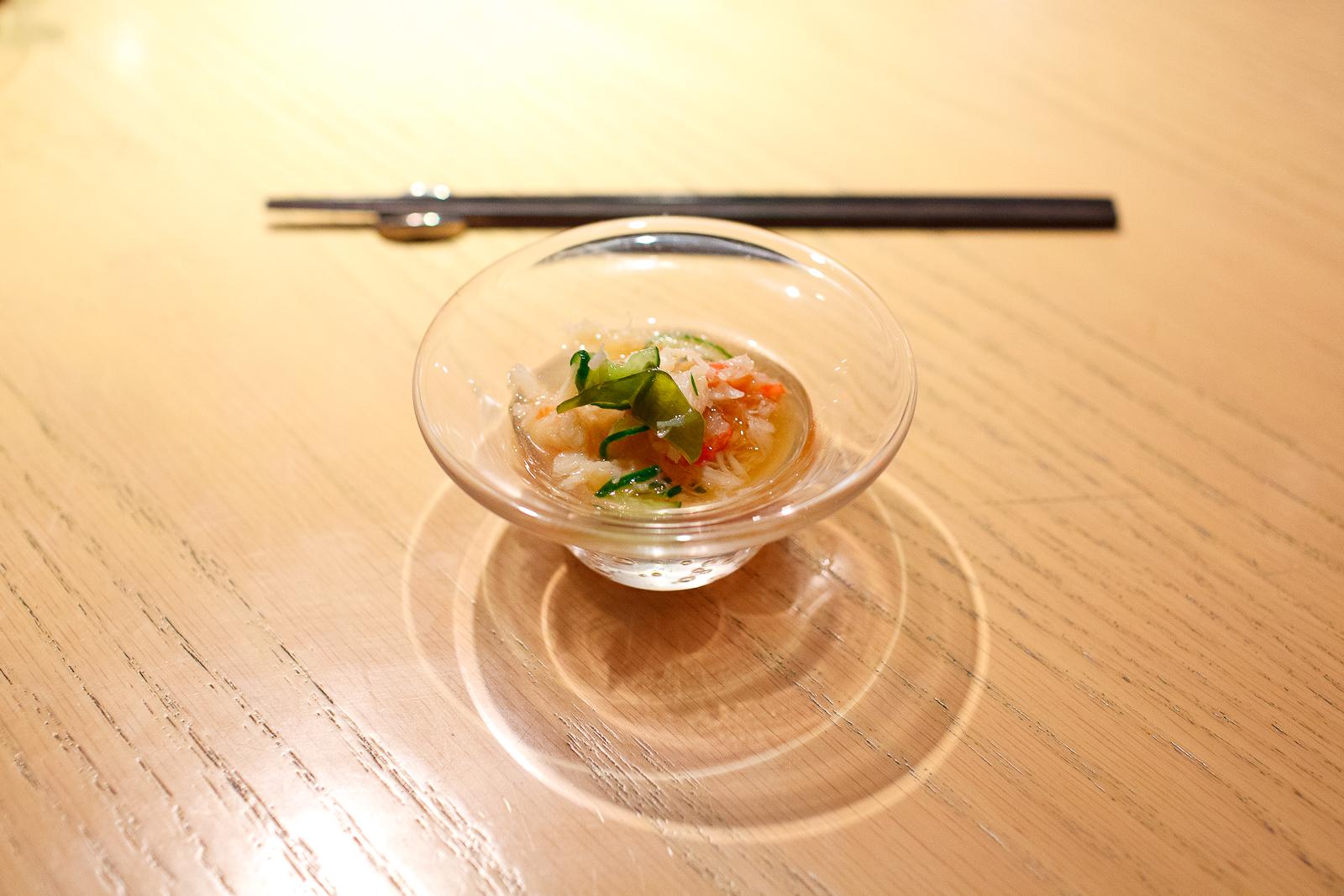 6th Course: Sumomomo - Snow crab and cucumber