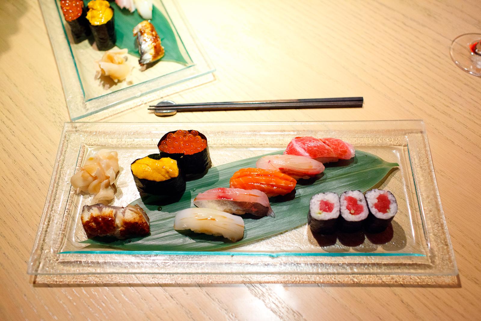 7th Course: Sushi - Blue fin tuna maki, fatty tuna (toro), striped jack, salmon, jack mackerel, squid, salmon roe (ikura), sea urchin, saltwater eel (anago)