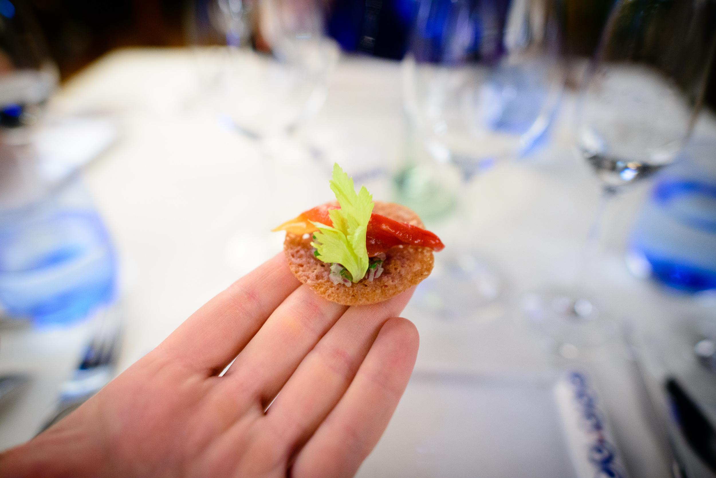 1st Course: Tostada de almeja (chocolate clam tostada), up close