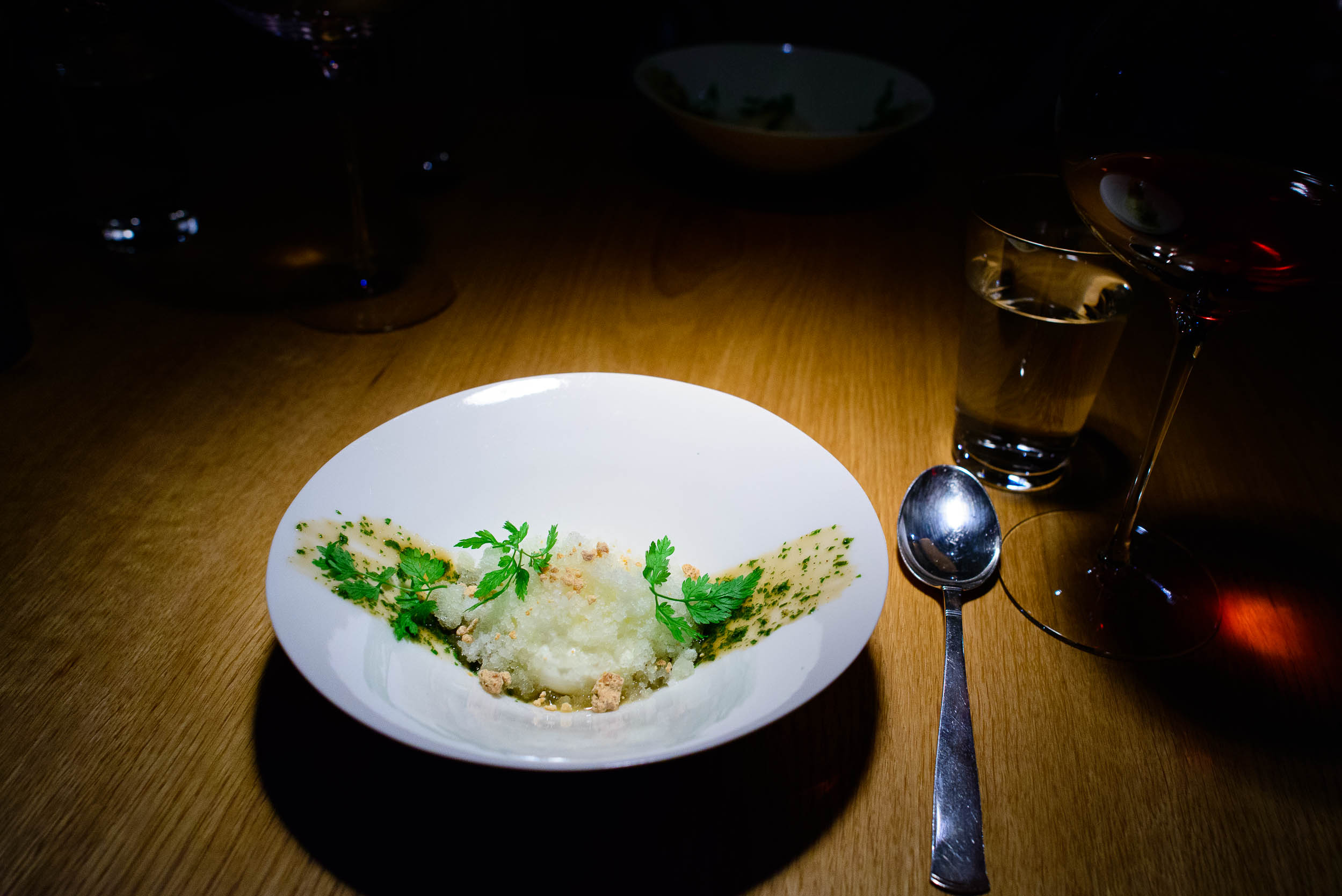 Puree of polypodium fern and sweet cicely with a white chocolate