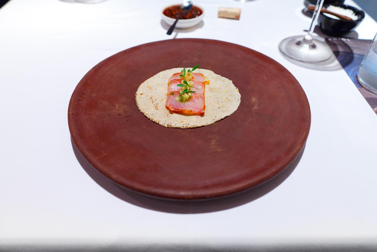 4th Course: Taco de tataki de robalo al pastor, piña (Taco al pastor with snook, pineapple mayonaise)