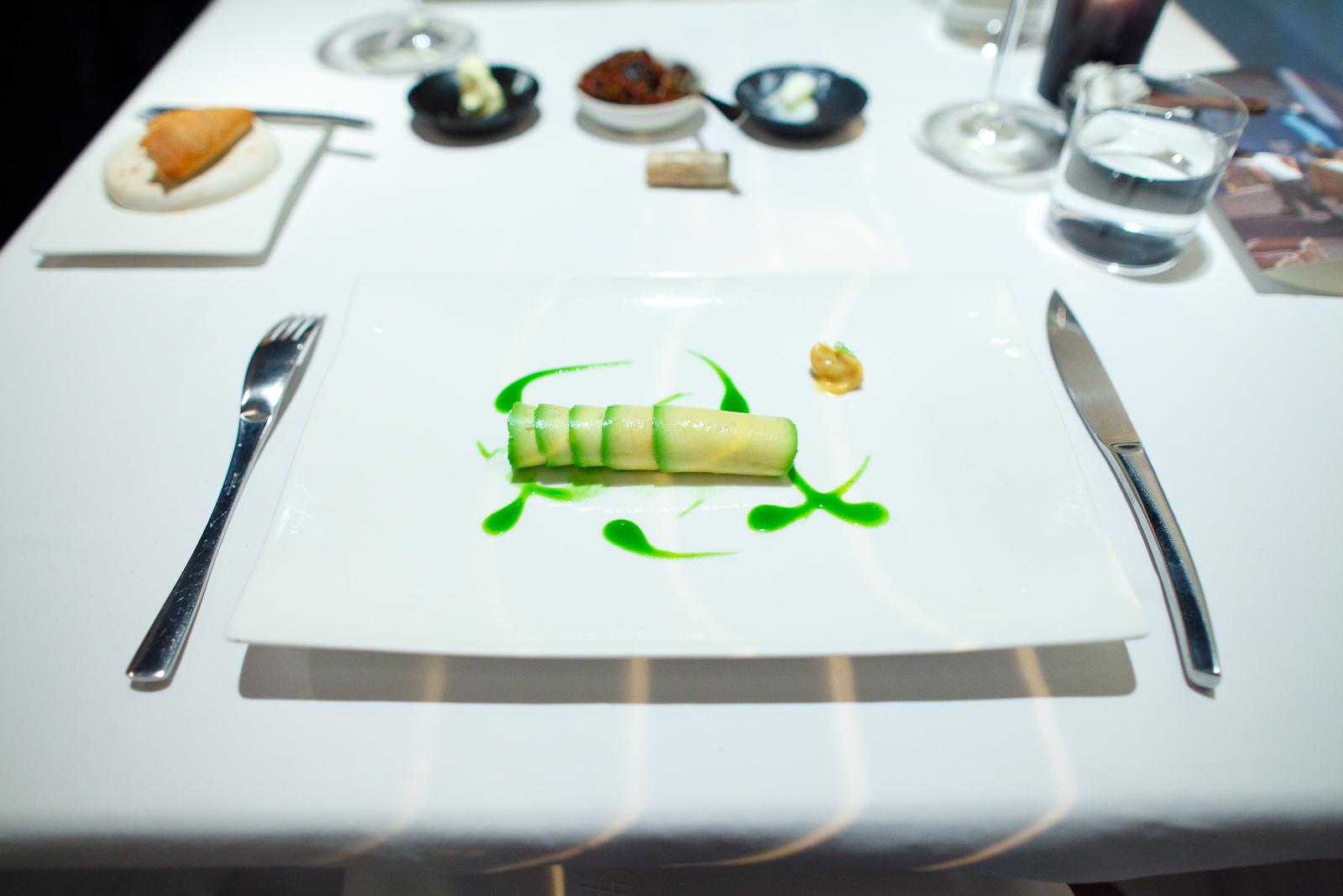 2nd Course: Flautas de aguacate rellenas de camarón cristal. Mayonesa de chipotle rallado. Emulsión de cilantro. (Avocado flautas with raw shrimp, chipotle mayo, cilantro emulsion)