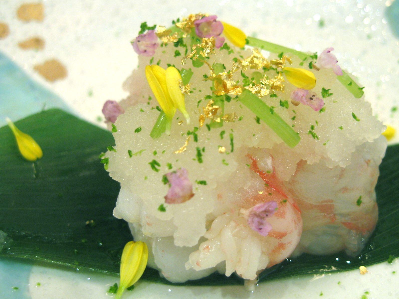 Botan ebi with grated daikon, shiso, yuzu zest, and miso flower