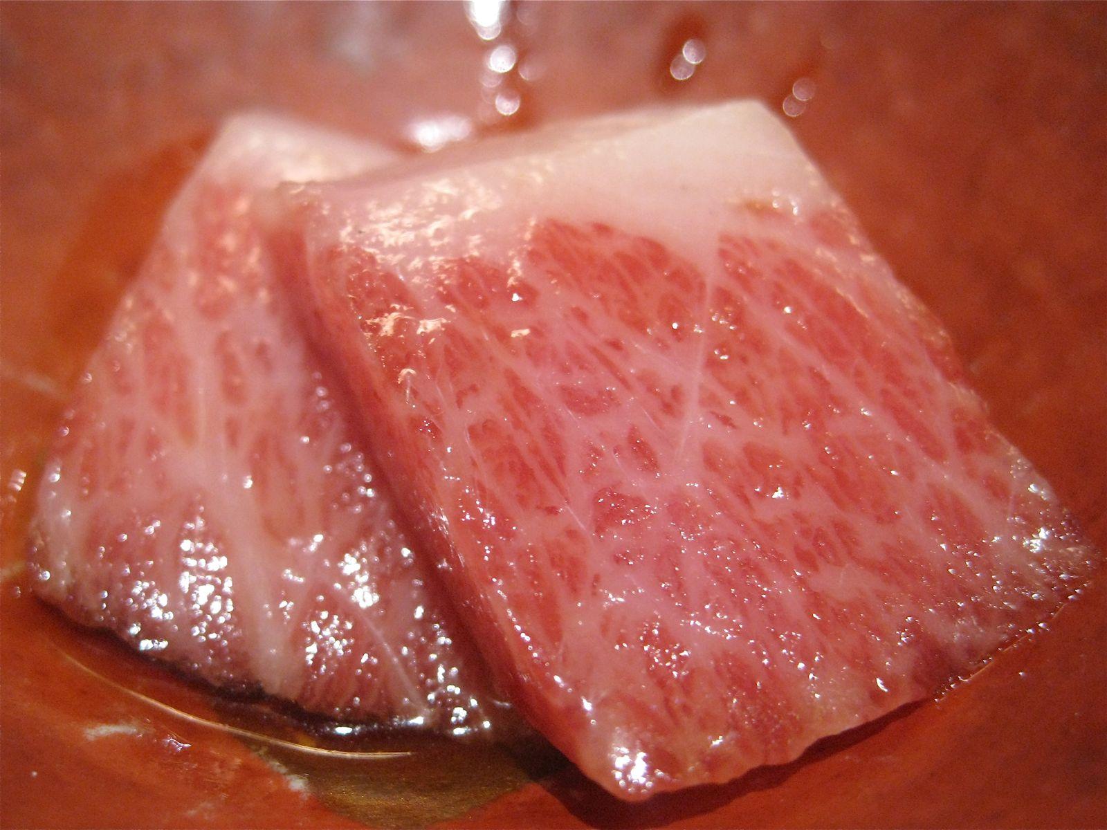Slices of Kobe beef