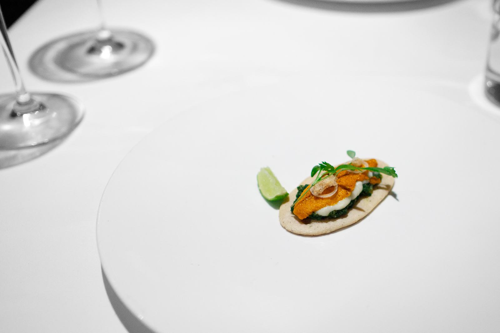5th Course: Sope de erizo y papa, hoja de rábano tatemado (Sea urchin sope with potato purée, fire-toasted radish leaf)