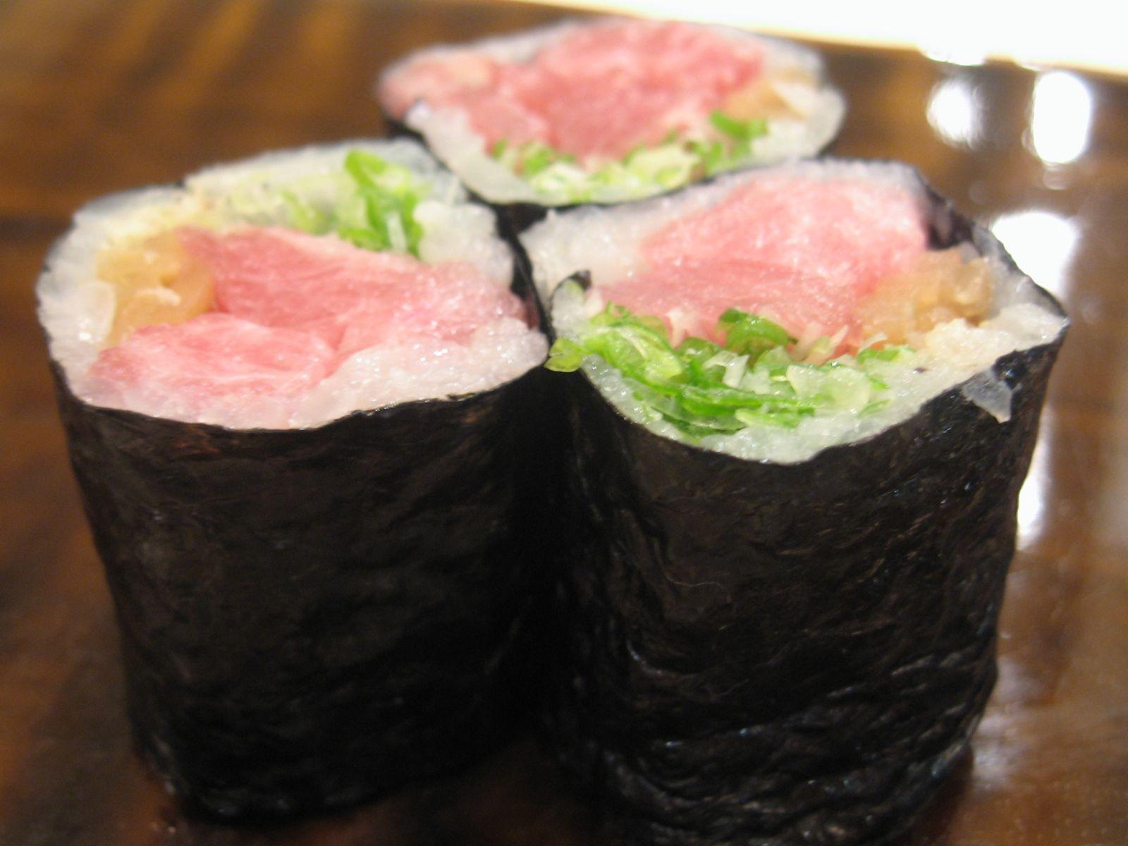 Negitoro with yuzu and pickled raddish