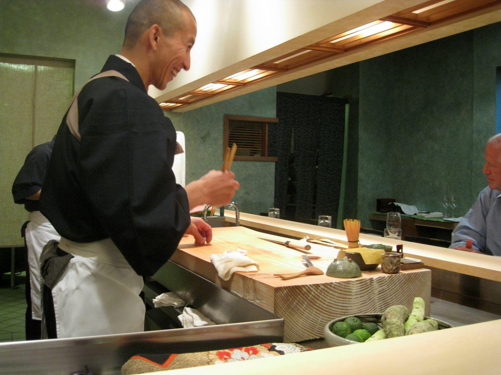 Chef Urasawa preparing sushi
