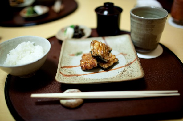 Koju, Tokyo - Grilled eel, white rice, miso soup, and Japanese pickles