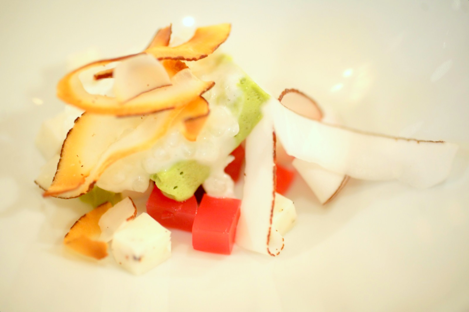 Pierre Gagnaire, Paris - Coconut & vanilla tapioca, toasted coconut, pistachio ice cream, red bell pepper