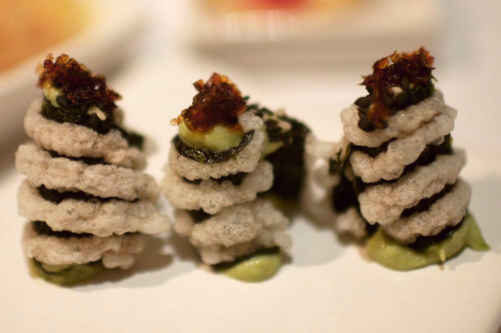 nori, crispy rice, wasabi paste