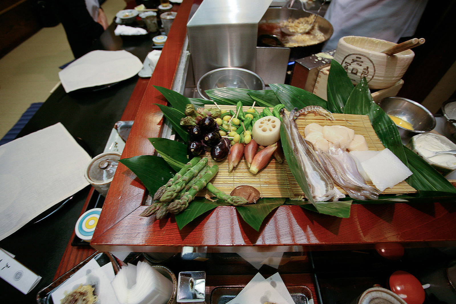 Tenichi, Ginza, Tokyo - Assorted vegetables ready for frying