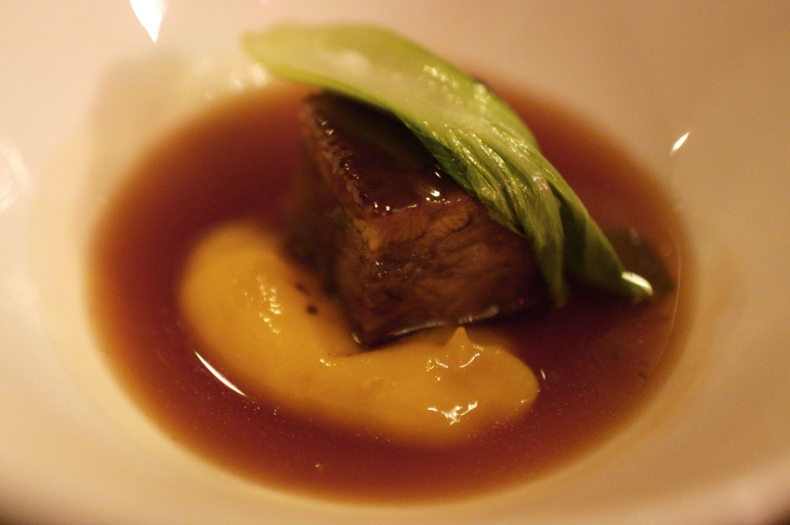 Duck and Eel Terrine, Chocolate Consommé, Sweet Mango