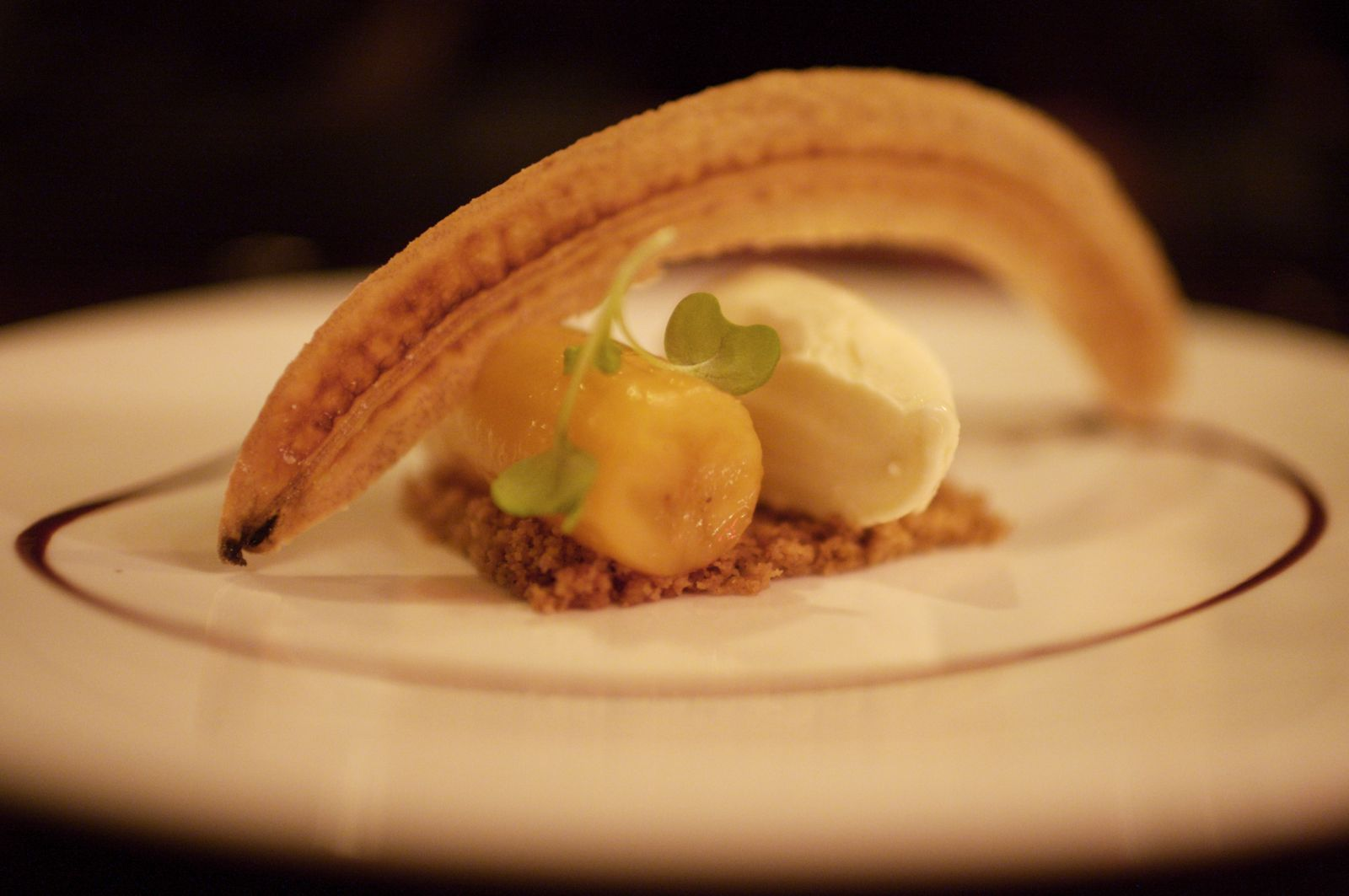 Rum Braised Banana, Mustard Ice Cream, Brown Butter Cake