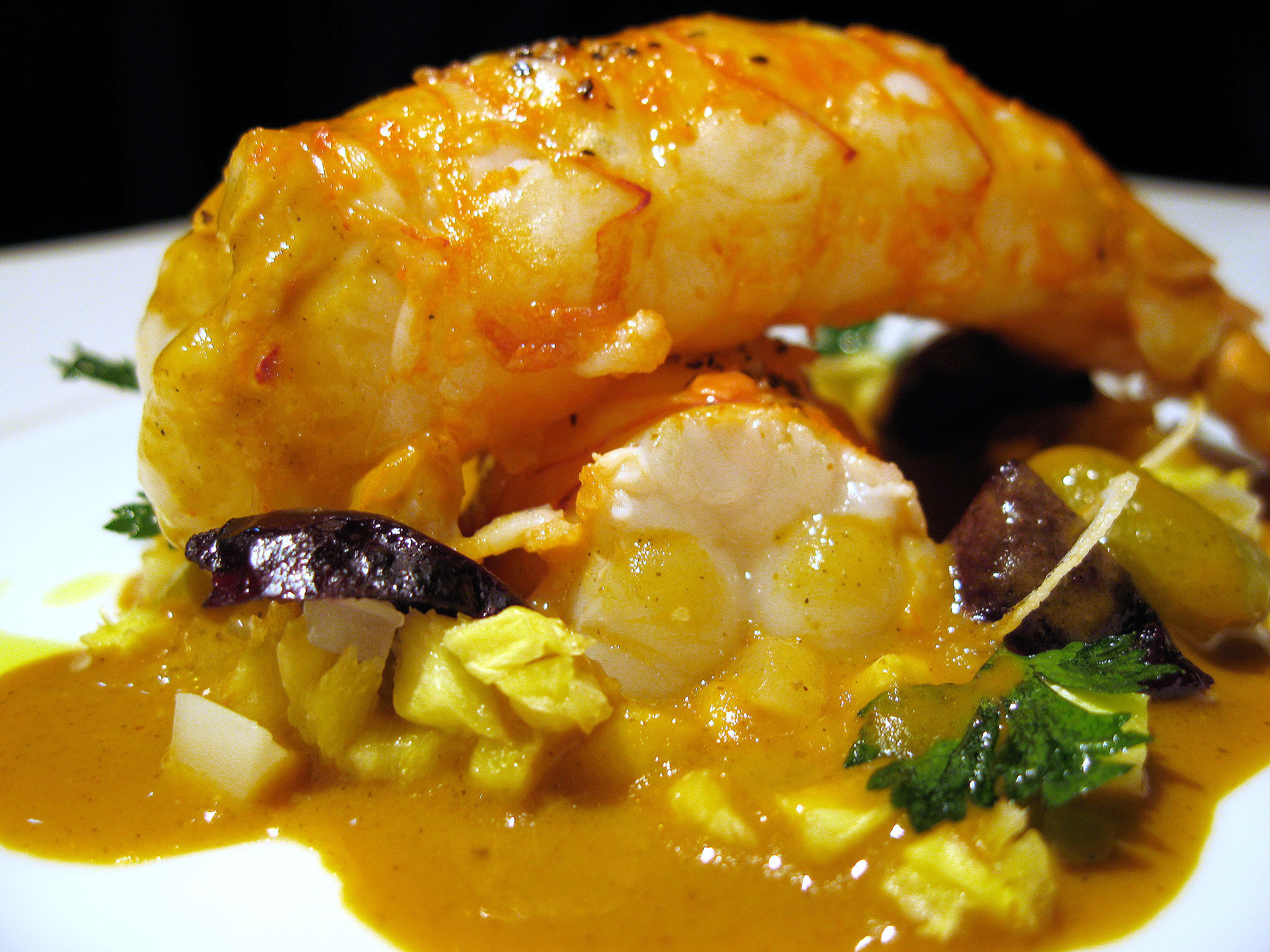 Beige, Tokyo - Langoustines roasted with black pepper, celery/pineapple flavoured in a coco/curry sauce.