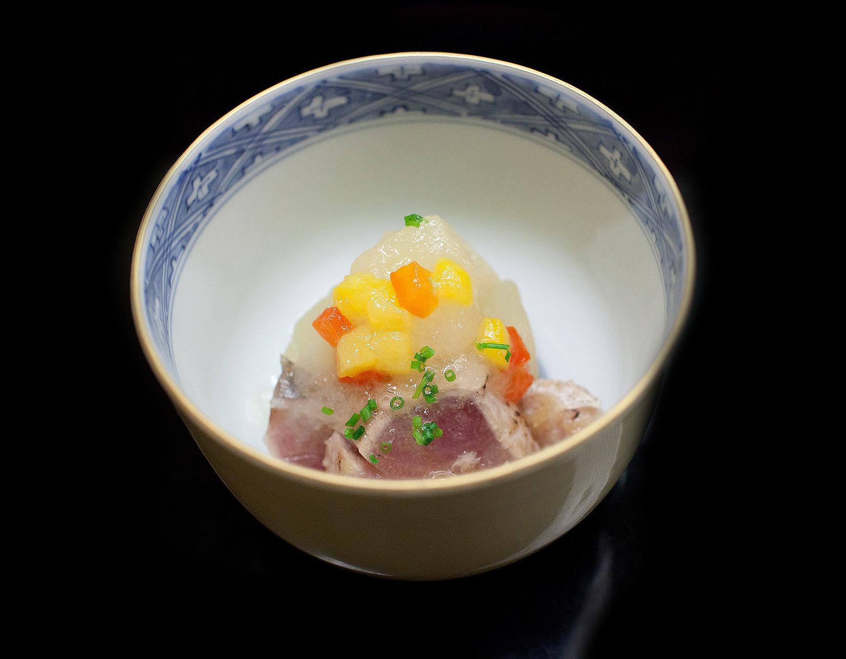 Chihana, Kyoto, Japan - Bonito sashimi cured with pear and citrus fruits