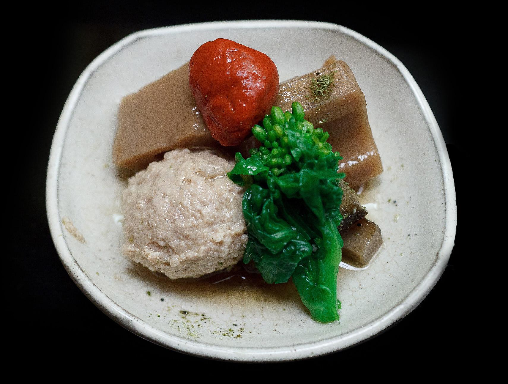 Chihana, Kyoto, Japan - Lotus Root, Pickled Plum, Chicken ball, and Burdock root