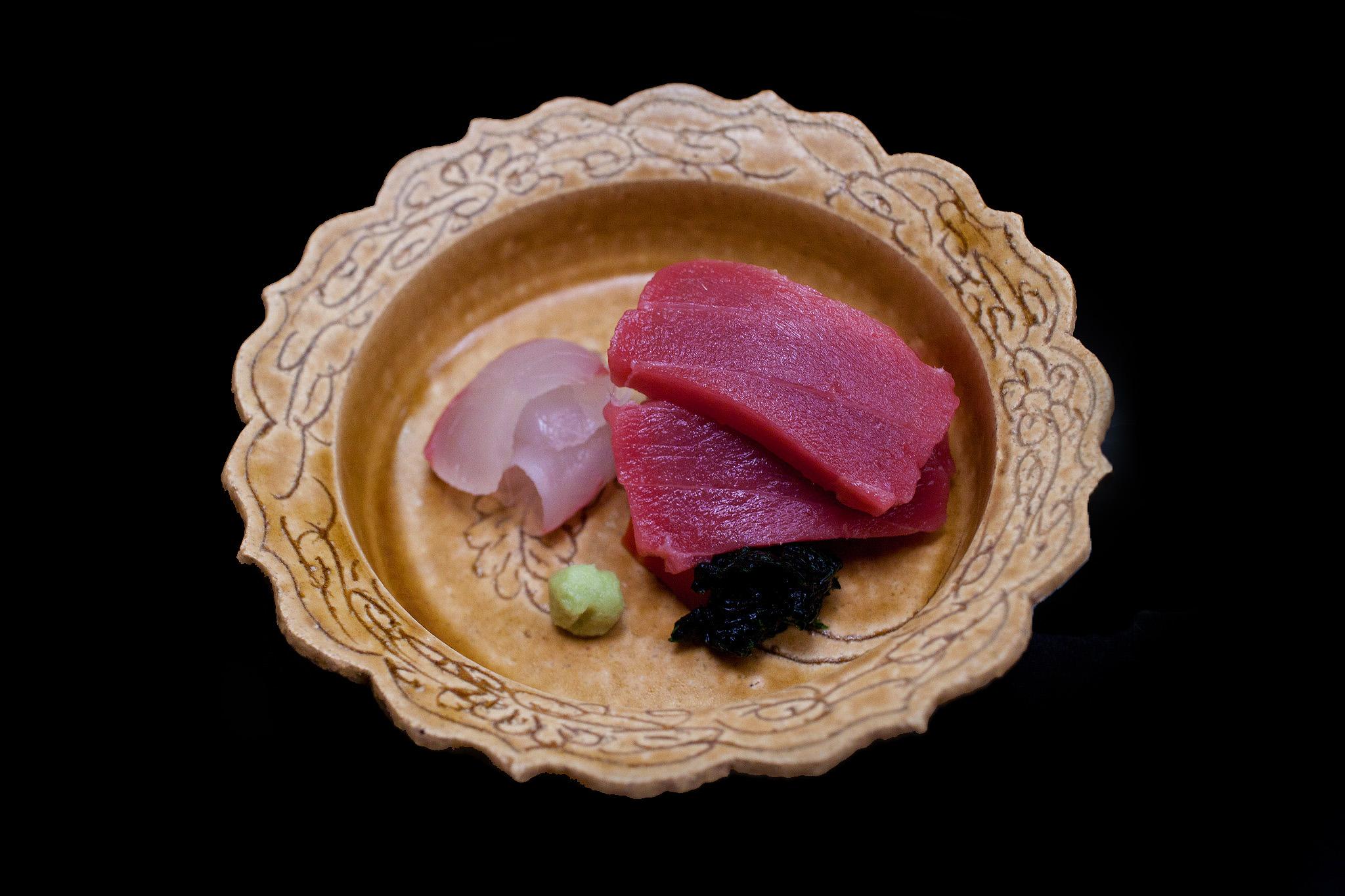 Chihana, Kyoto, Japan - Hirame and Chuo Toro with Dried Kelp