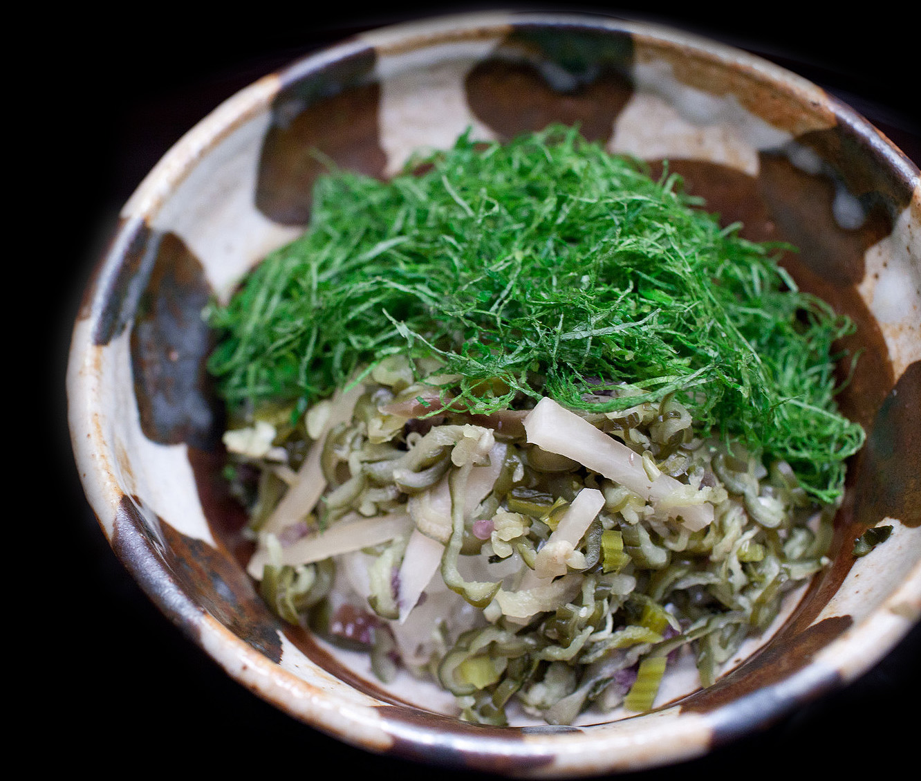 Chihana, Kyoto, Japan - Rice with fresh shiso, pickled vegetables, and mushrooms