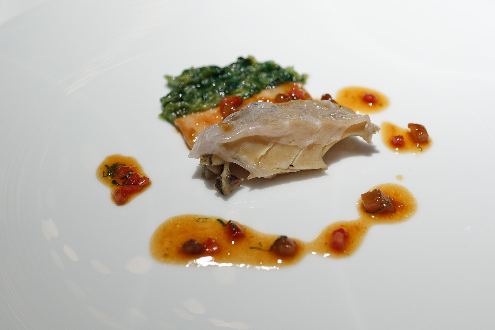 Pierre Gagnaire, Tokyo - Abalone and Meishan ham grilled with sage, braised lettuce heart, chorizo, and crispy lard