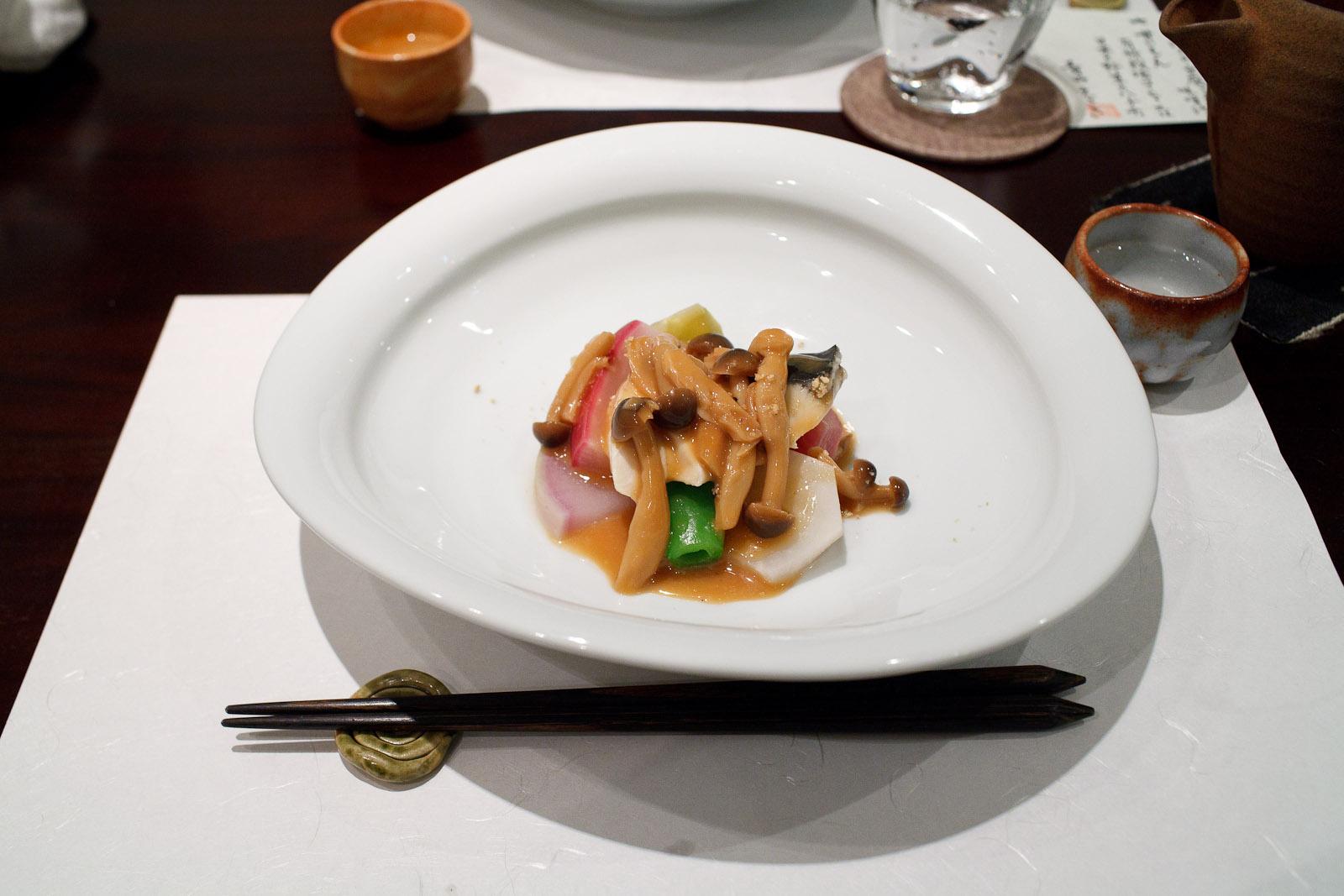 Esaki, Tokyo - Sawada, green tomato, raddish, mushroom sauce, white sesame
