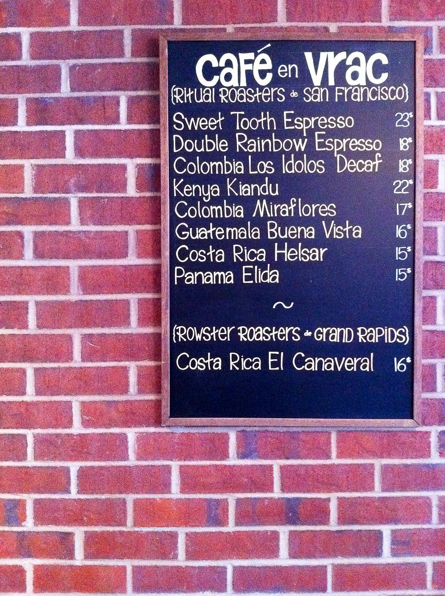 Cafe Myriade - Espresso Bean Menu
