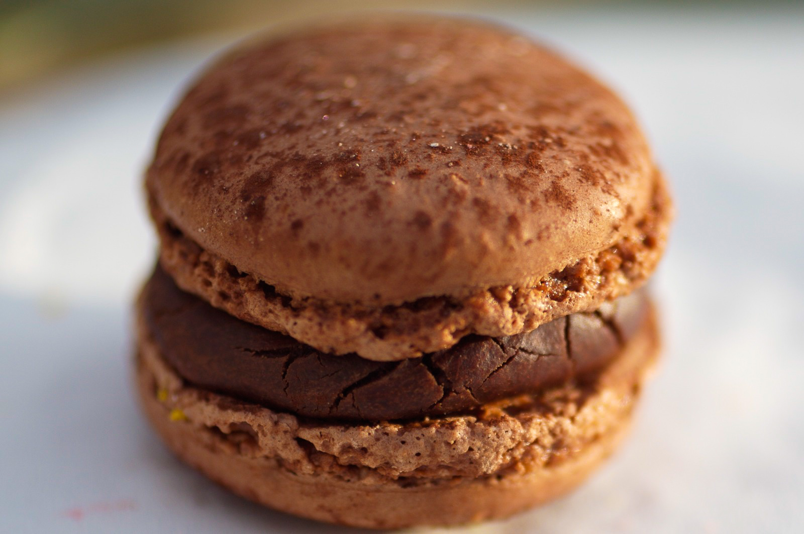 Chocolat - biscuit macaron chocolat, ganache au chocolat amer