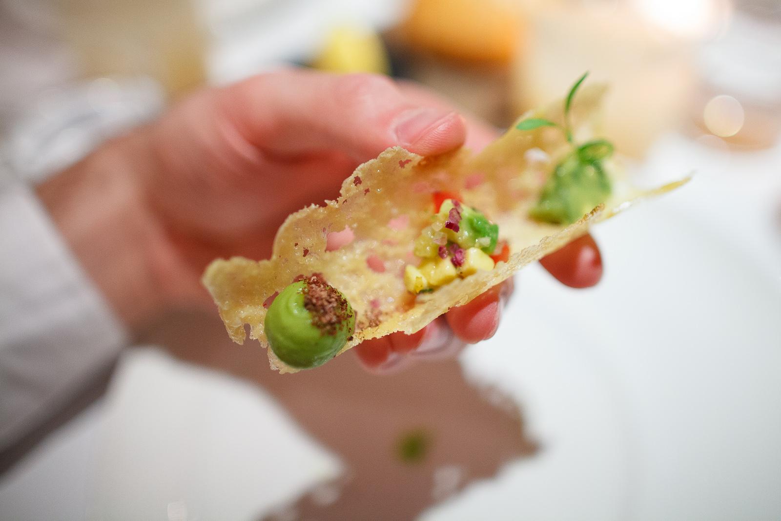 1st Course: Taco de chicharrón de queso con guacamole y chile serrano (Plancha-grilled cheese taco with guacamole and serrano chile), up close