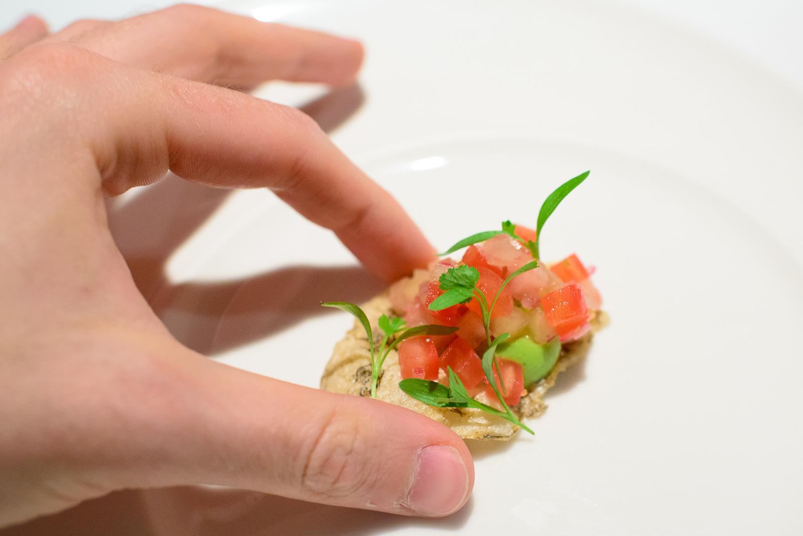 2nd Course: Chicharrón de pescado, salsa de xoconostle, hierbab