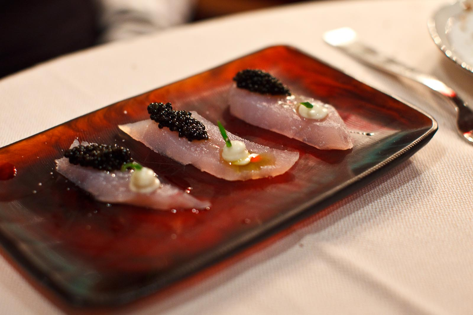 Marea - LANCIA - hawaiian blue marlin, sturgeon caviar, musssel vinaigrette