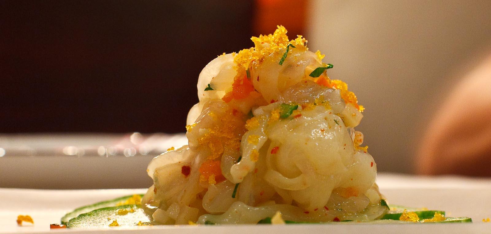 Marea - SEPPIA - cuttlefish tagliatelle, soffrito crudo, bottarga di muggine (close up)