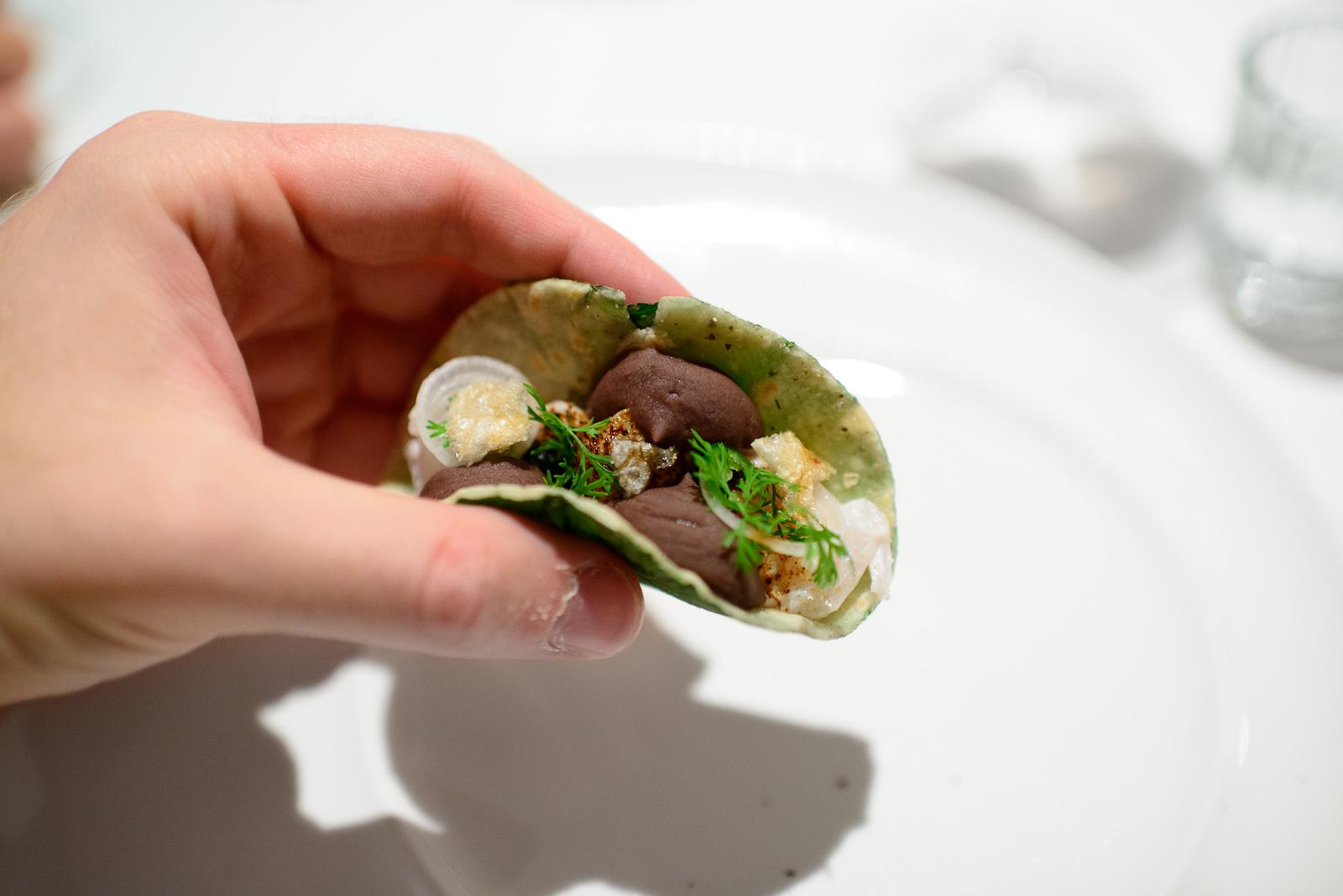 2nd Course: Taquito de pescado (sea bass), frijol, chicharrón,