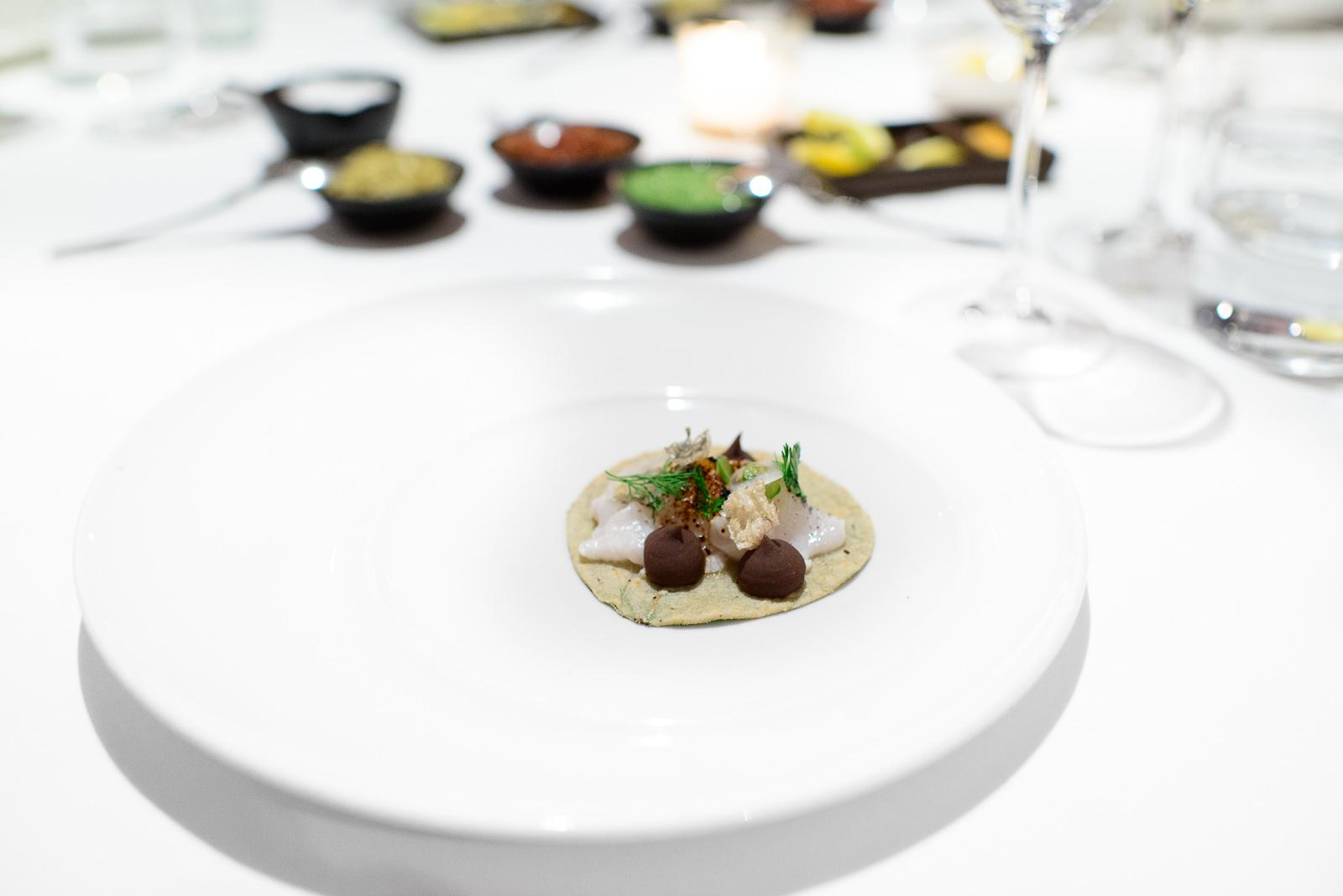 4th Course: Taquito de pescado, frijol, chicharrón, hoja santa