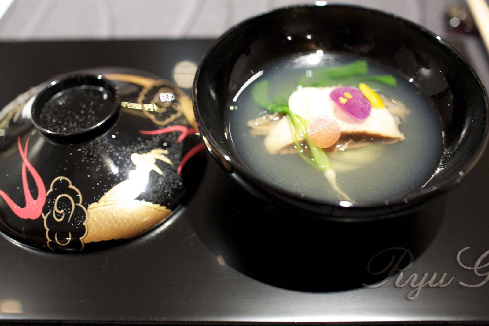 RyuGin - Hot soup of matsuba brand Tanner crab from Port Shibayama in season's greetings style