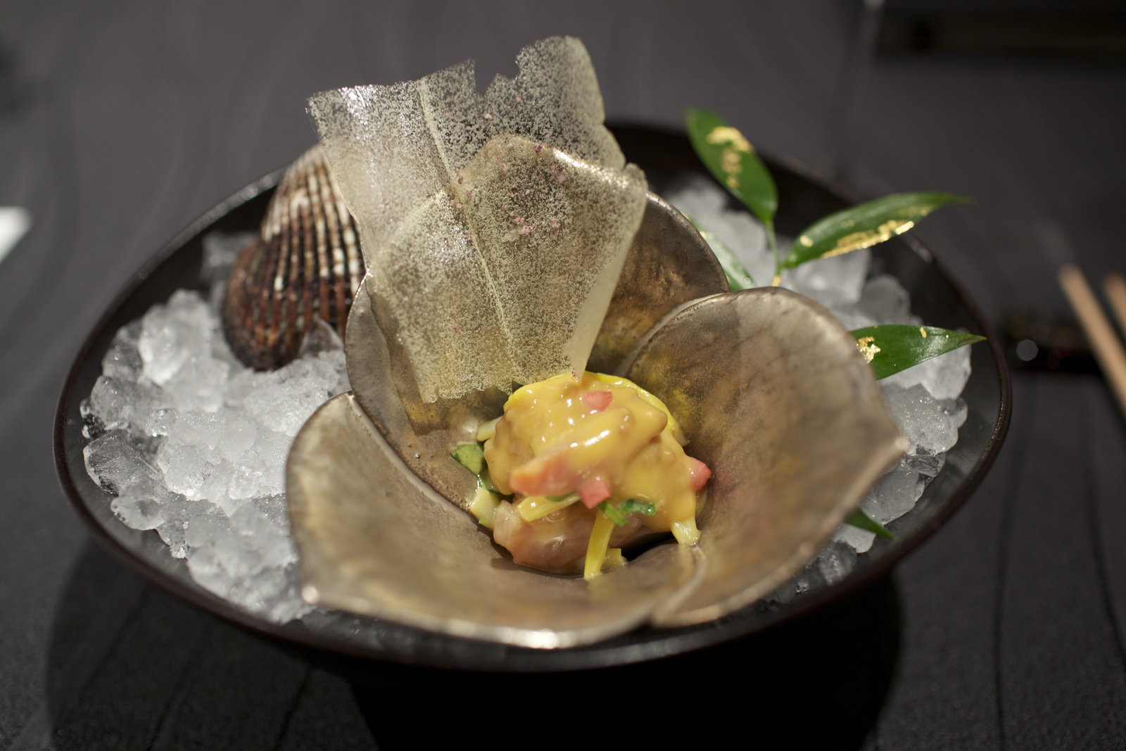 RyuGin - Ankimo, monkfish liver, seared with ark shell clam and winter vegetable in apple vinegar, miso, and mustard