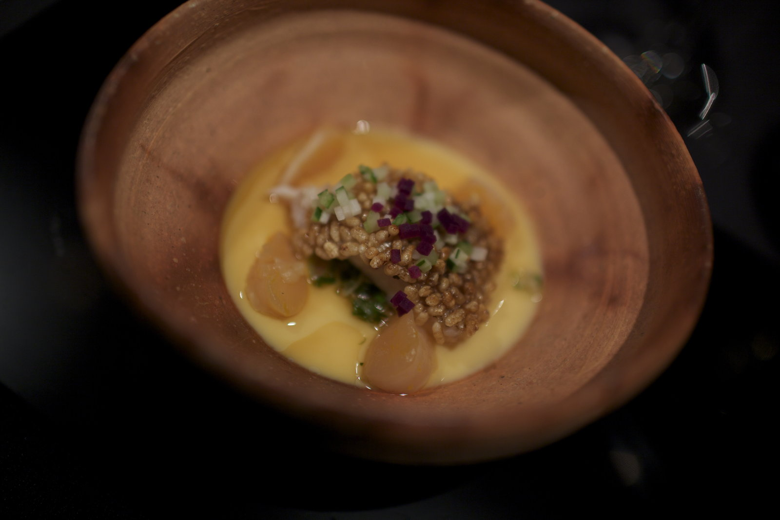 RyuGin - Crispy charrilled Akamatsu with vinegar flavor on egg pudding with smooth taro potatoes