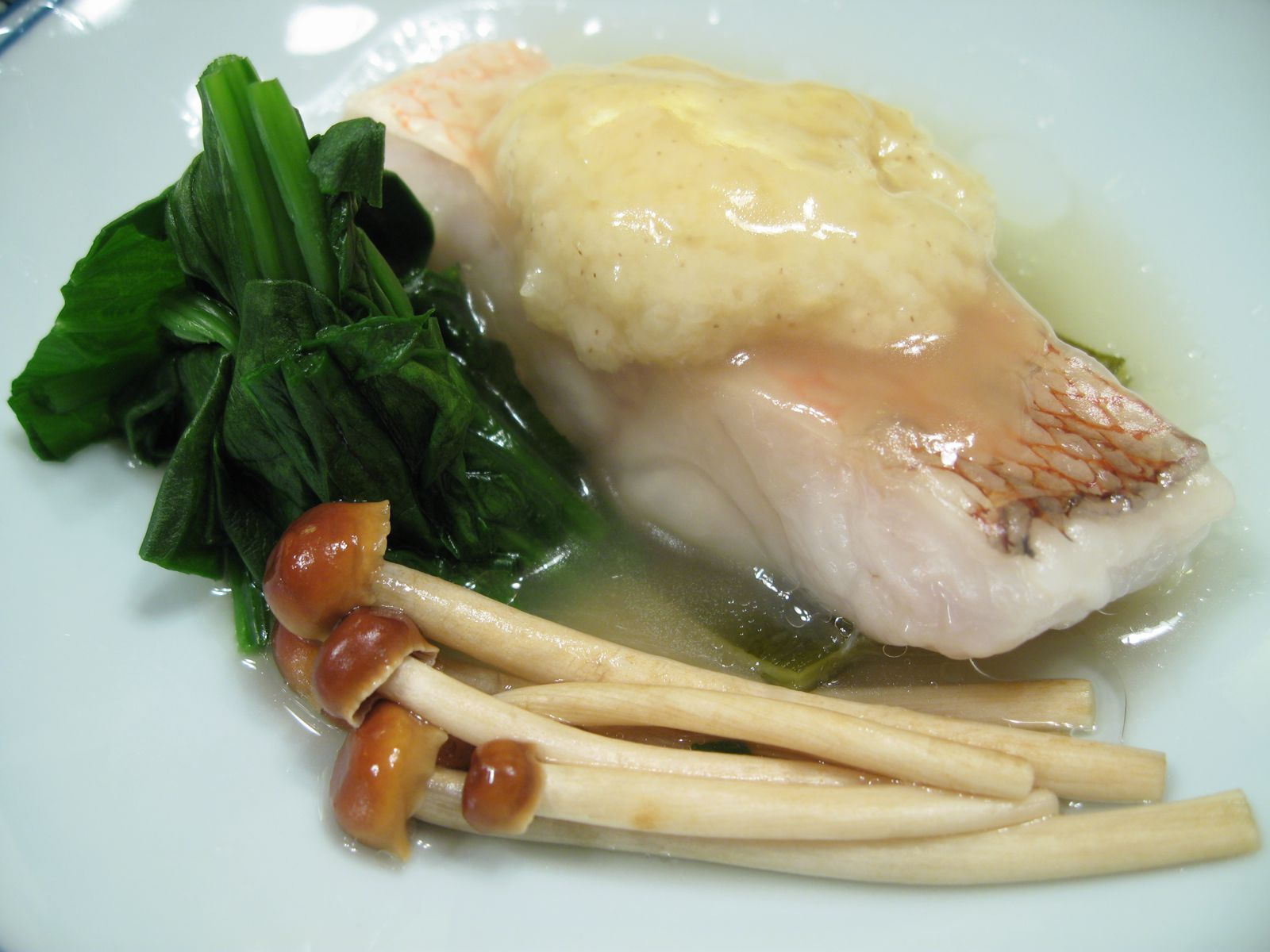 Steam Tilefish with Millet, Spinach, Enoki Mushroom in Soy Sauce Starch
