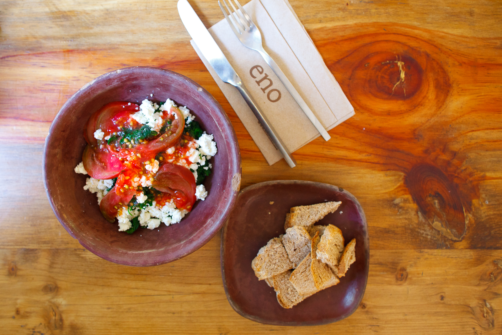 Ensalada de quintonil, queso de cabra, aguacate, y tomate (Quintonil salad with goat cheese, avocado, and tomato) (145 MXP)
