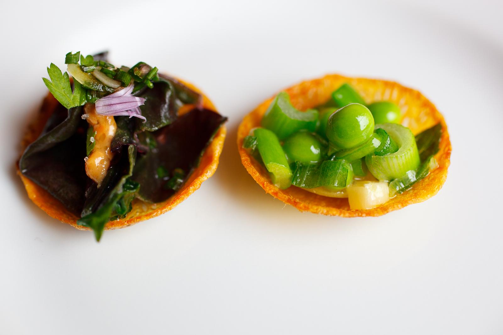 Tartelettes of amaranth, celery, and sweet peas