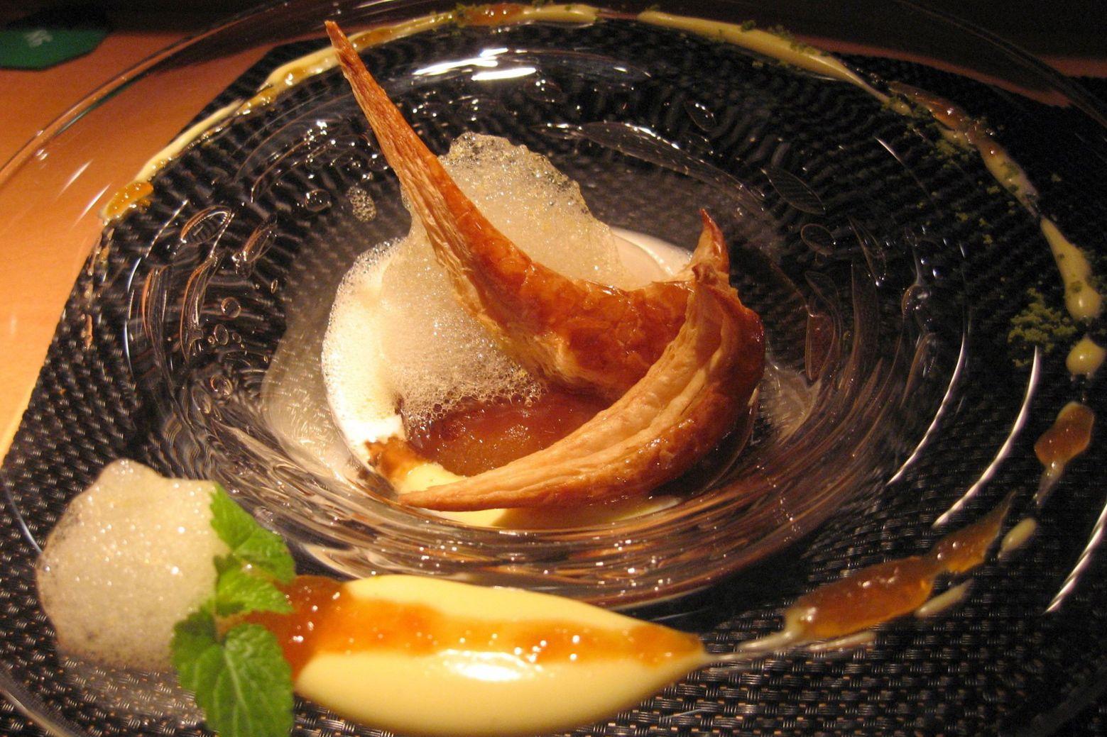 Le Riz au lait, pomme caramelisée avec un confit à l'orange