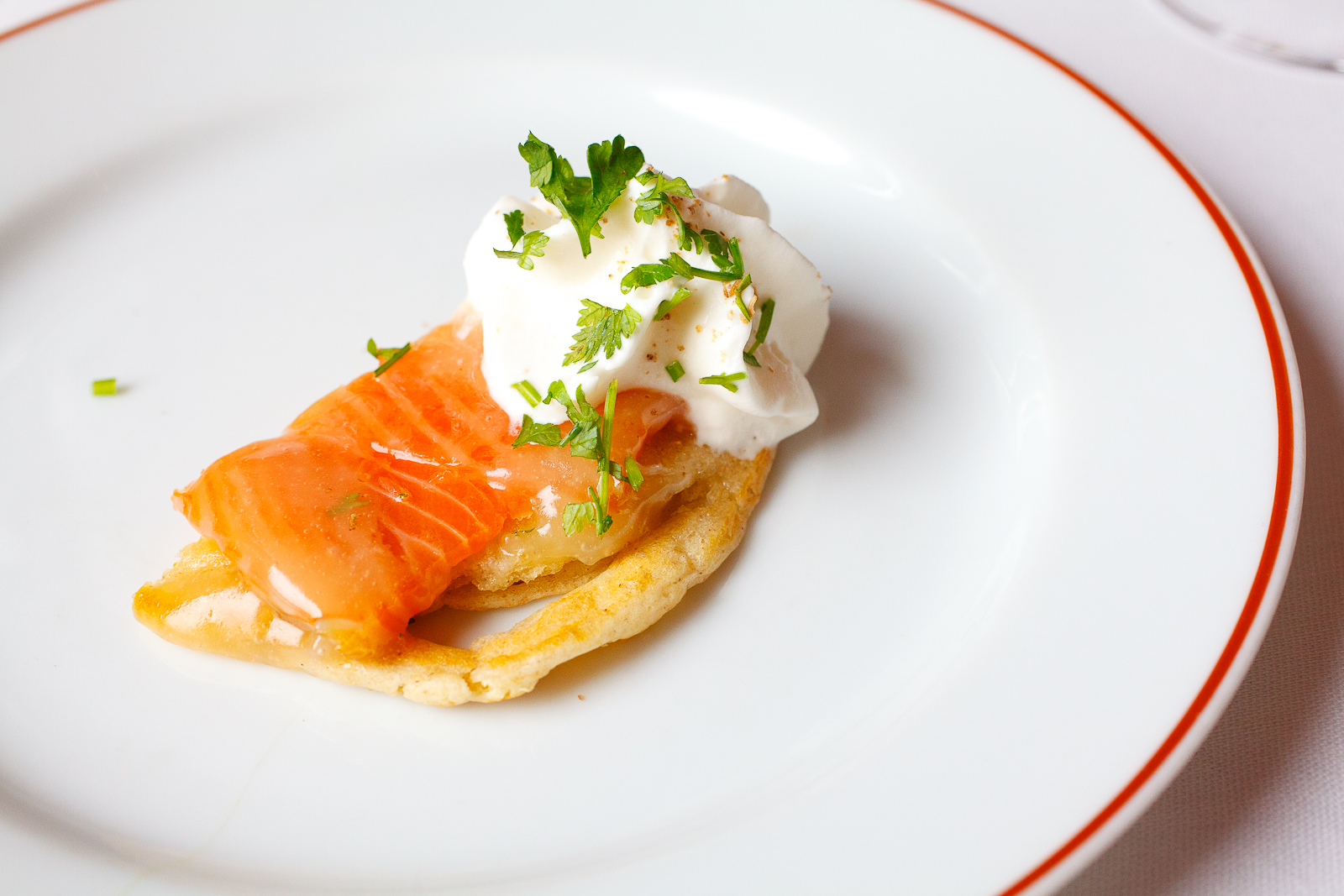 Salmon, honey butter, Speck-infused creme fraiche