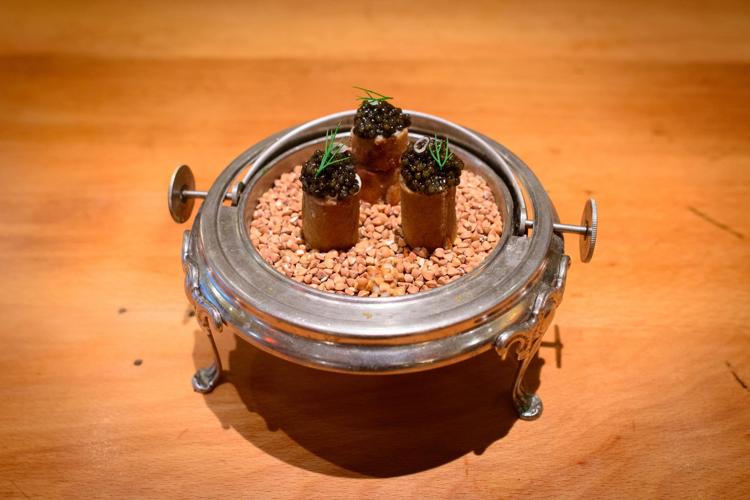 3rd Course: Buckwheat caviar knish, potato leek, crème fraîche