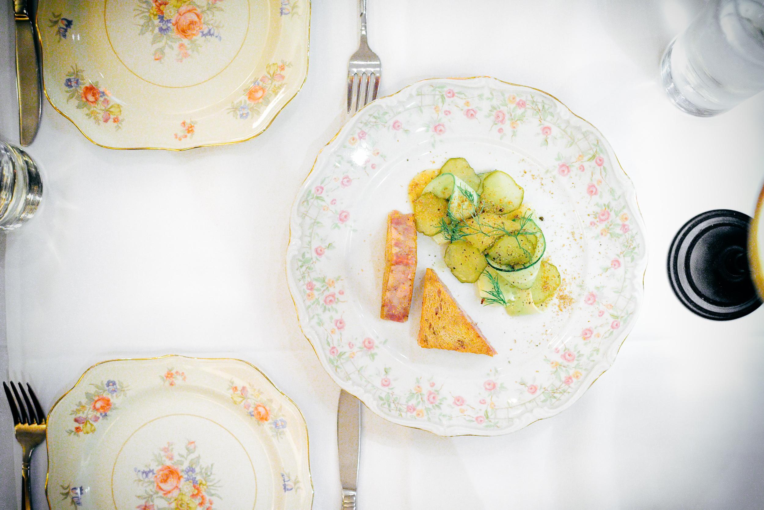 7th Course: Boar's Head sandwich, Cucumbers, coriander, sweet mu