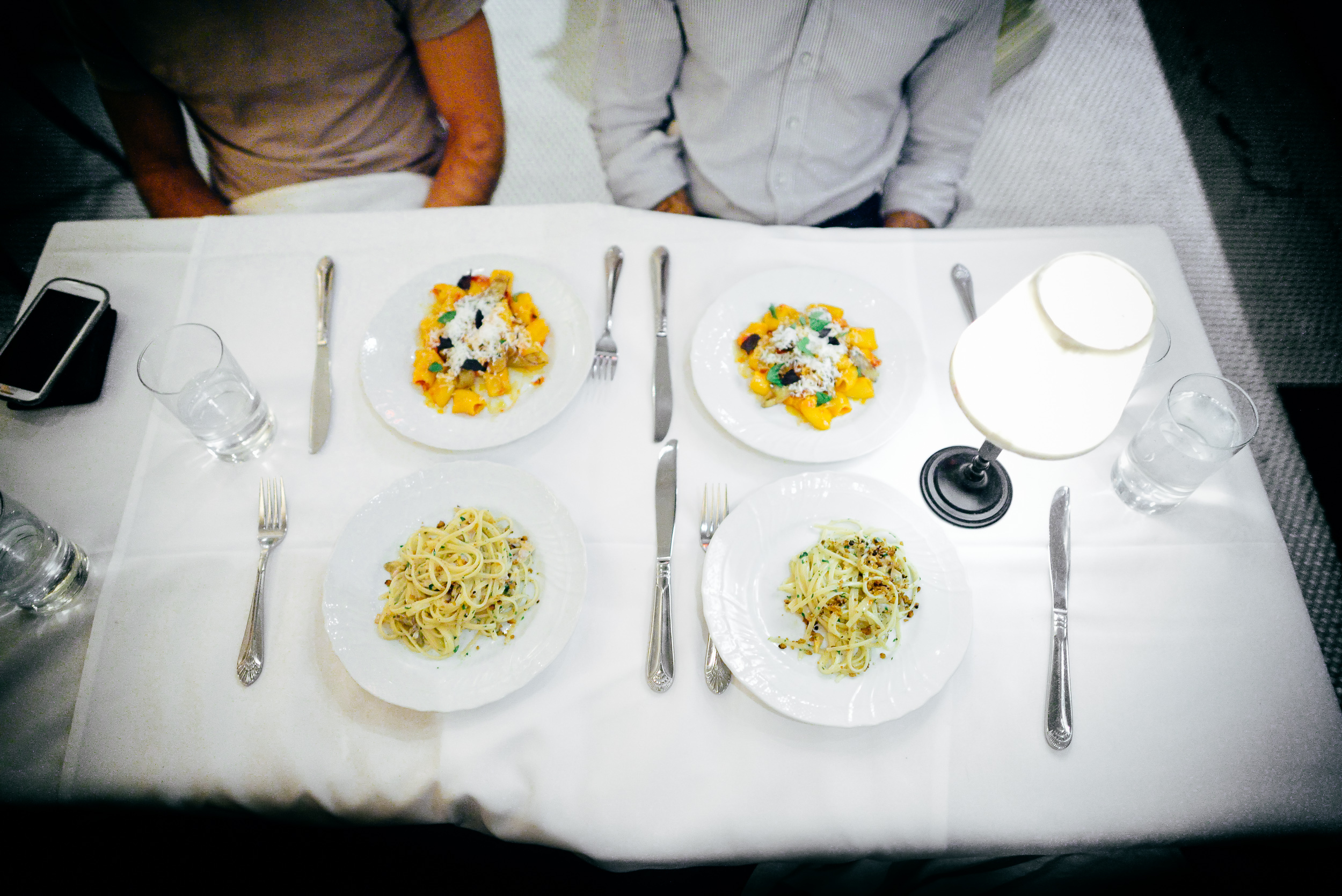 9th and 10th Courses: Linguine with clams, burnt pizza dough cru