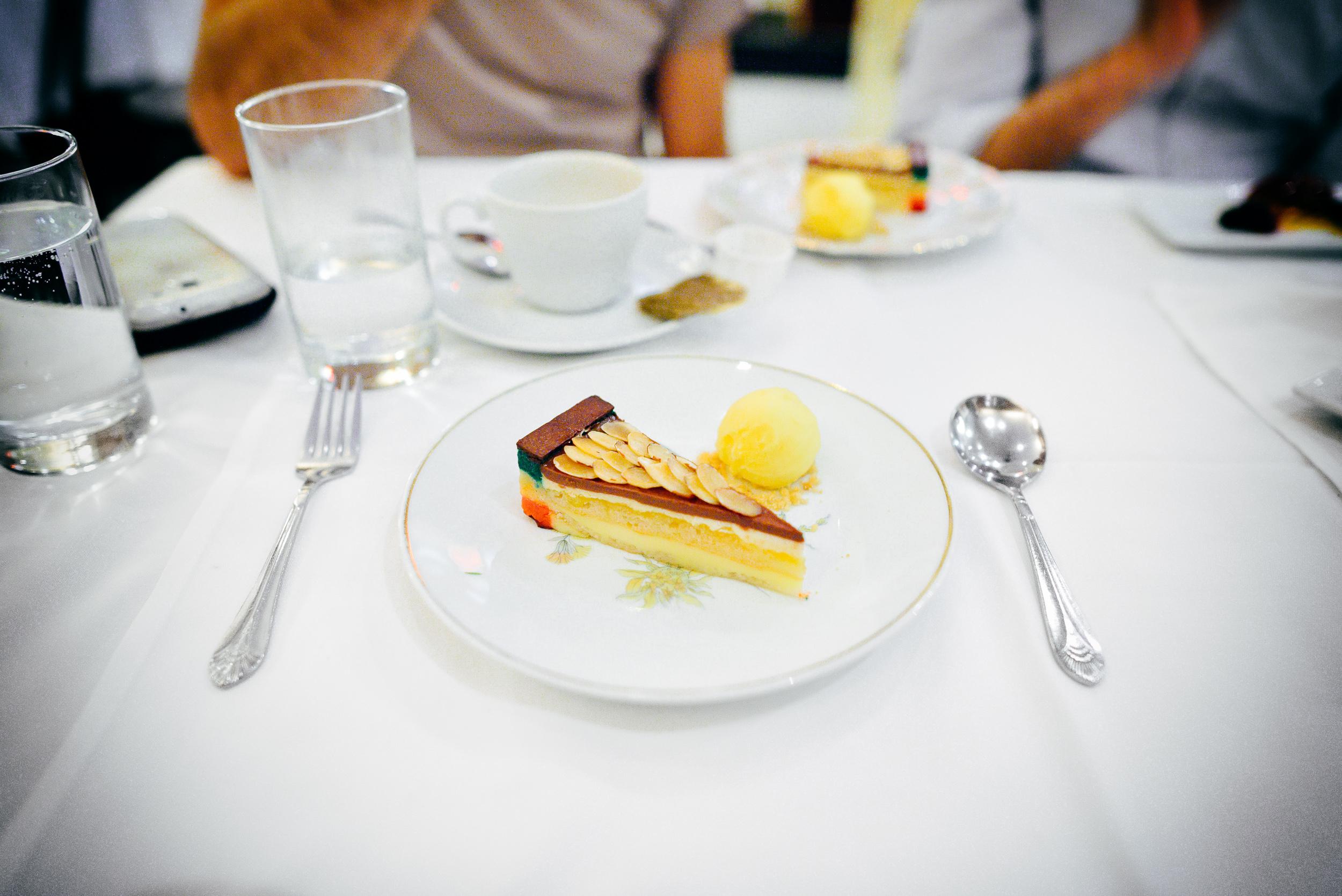 15th Course: Rainbow cake orange sorbet