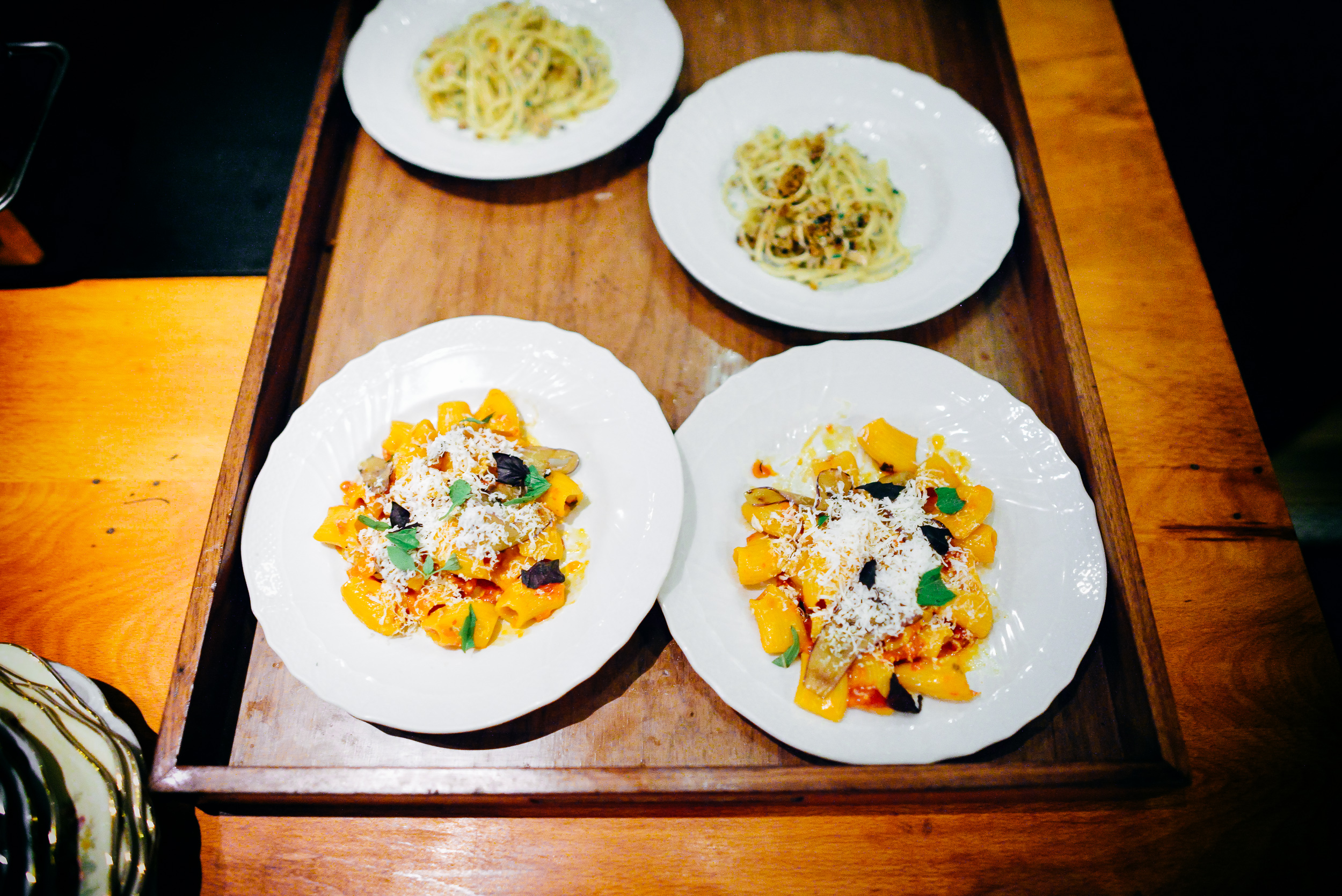 House-made pastas: Linguine with clams, burnt pizza dough crumb;