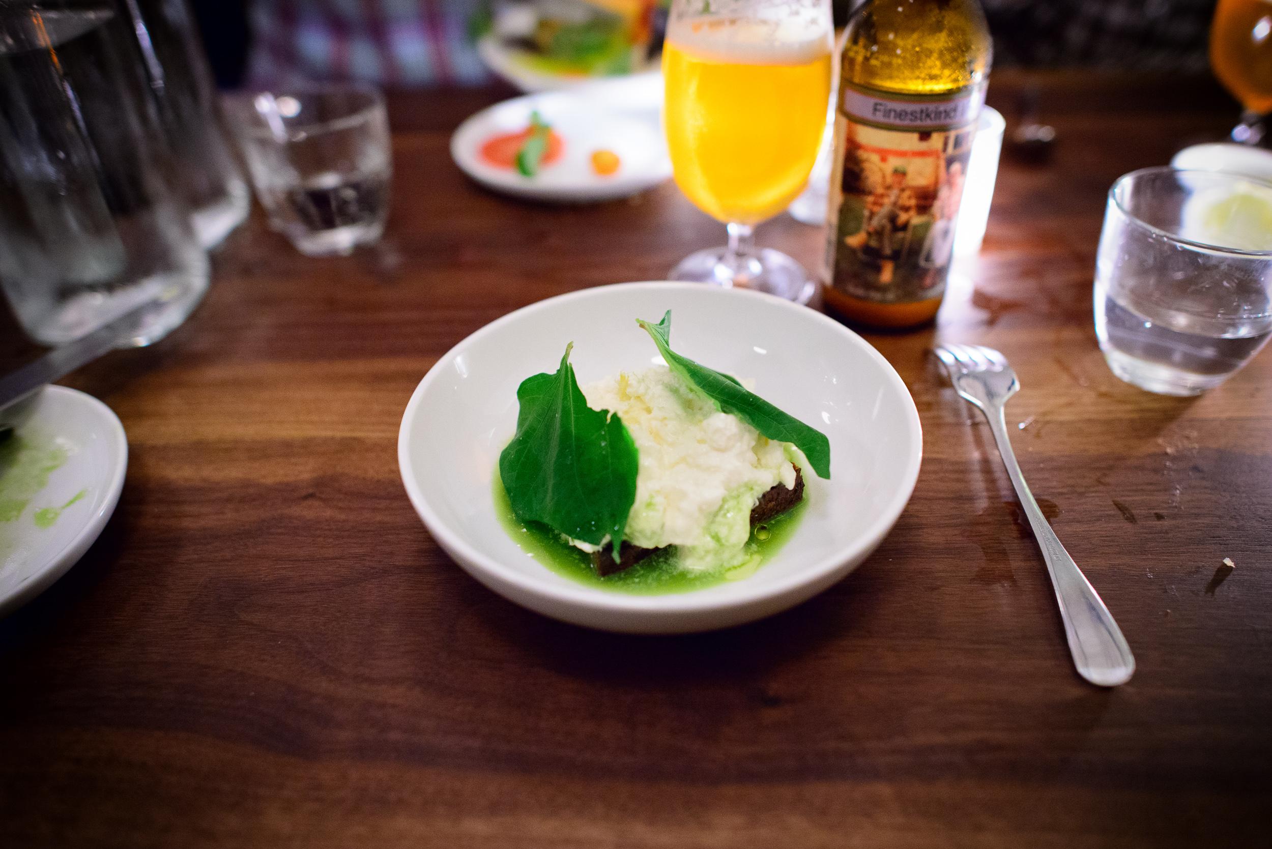 Burrata with salsa verde and charred bread ($15)