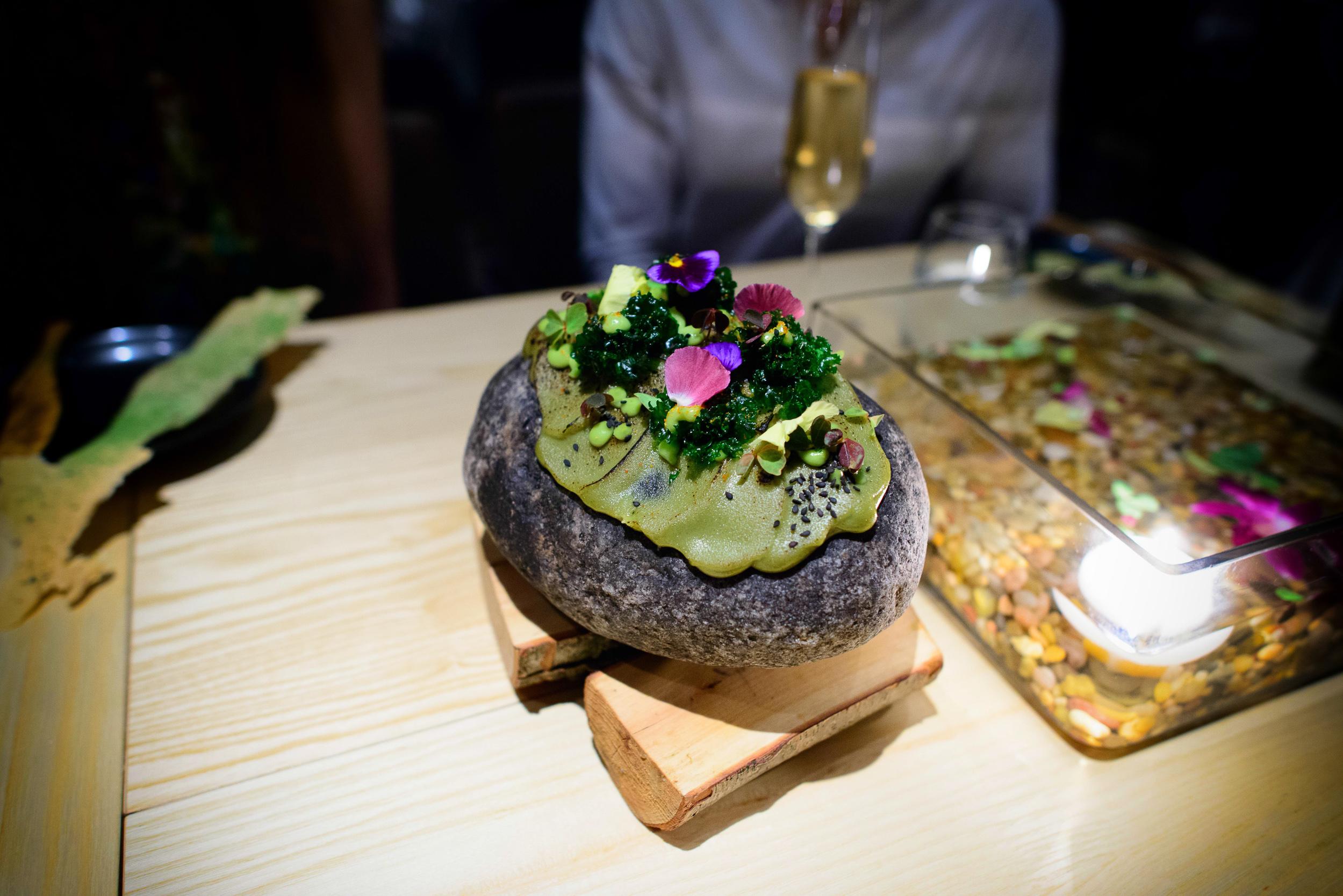 1st Course: Starter and Burnt Avocado (mousse of avocado, togara